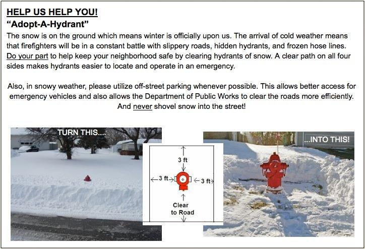 We NEED your HELP!  Keep your HYDRANTS clear of SNOW!